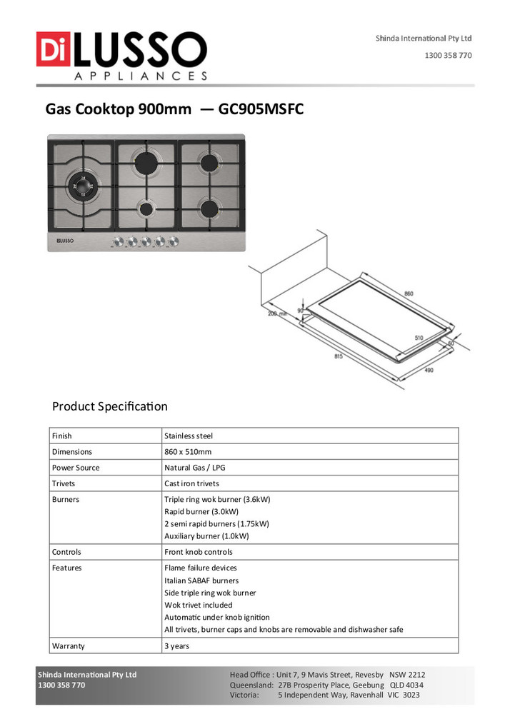 Dilusso GAS COOKTOP - 900MM STAINLESS STEEL