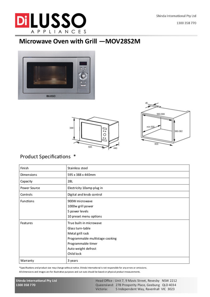 Dilusso BUILT IN MICROWAVE WITH GRILL
