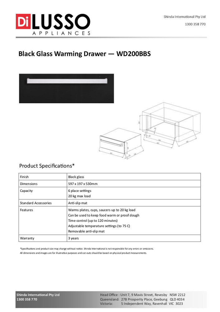 Dilusso BLACK GLASS WARMING DRAWER
