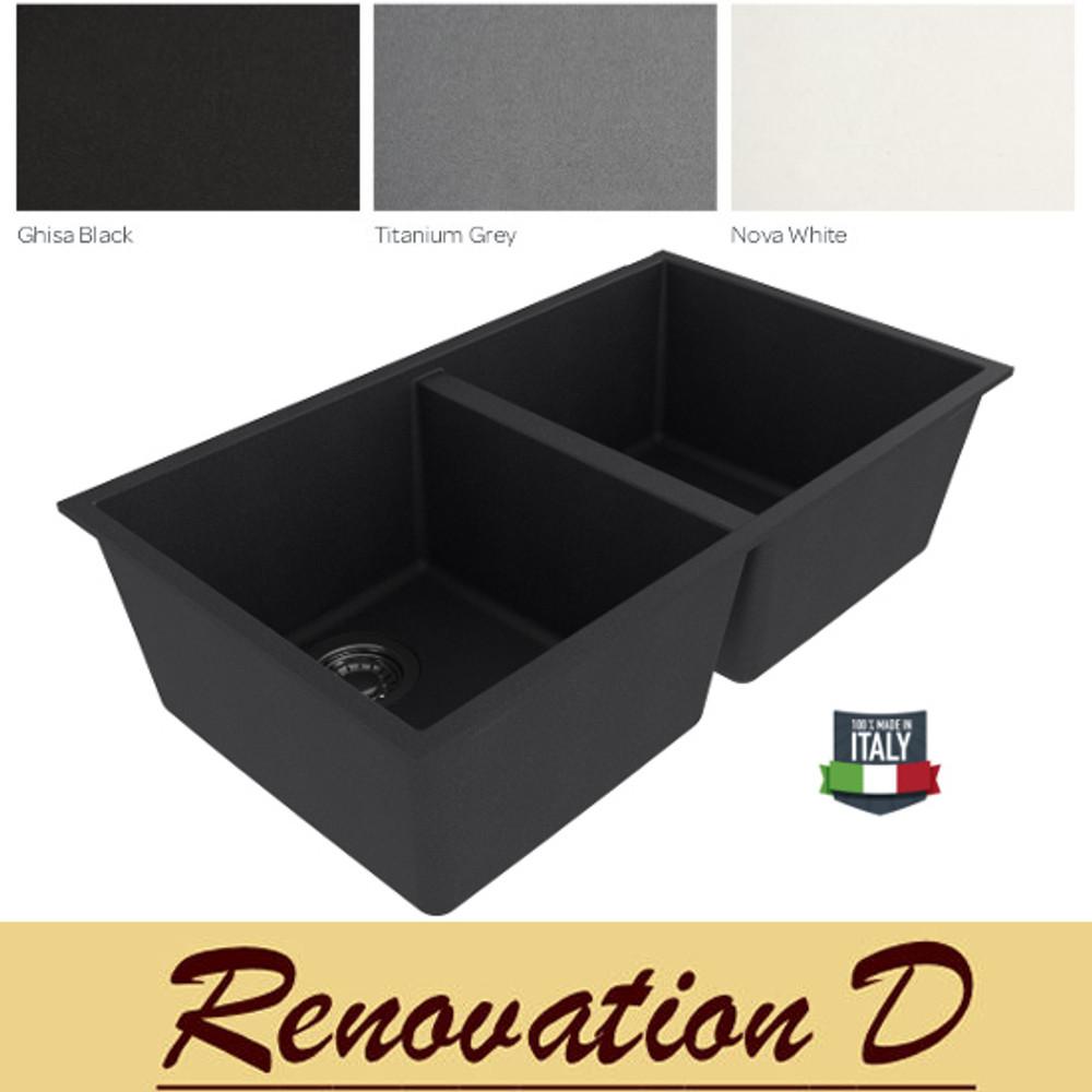 Cino Puro CGS 350U 765 MM Undermount Double Bowl Granite Sink Black Grey White