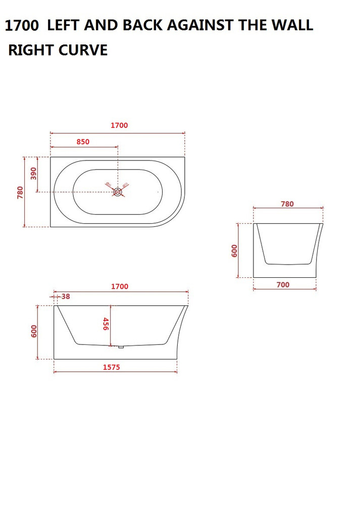 Normandy Regen Corner Free Standing Bathtub 1500 1700