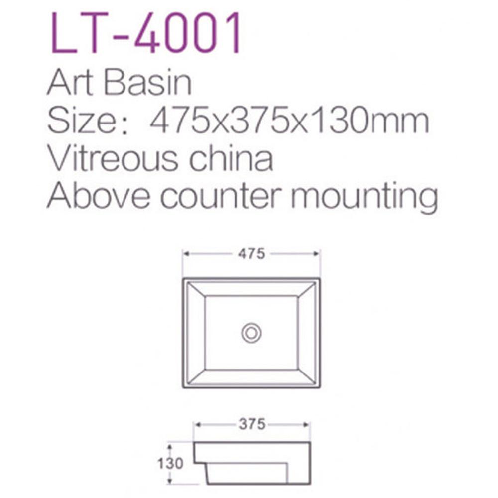 Rectangular Semi Inset / Drop In Basin LT4001