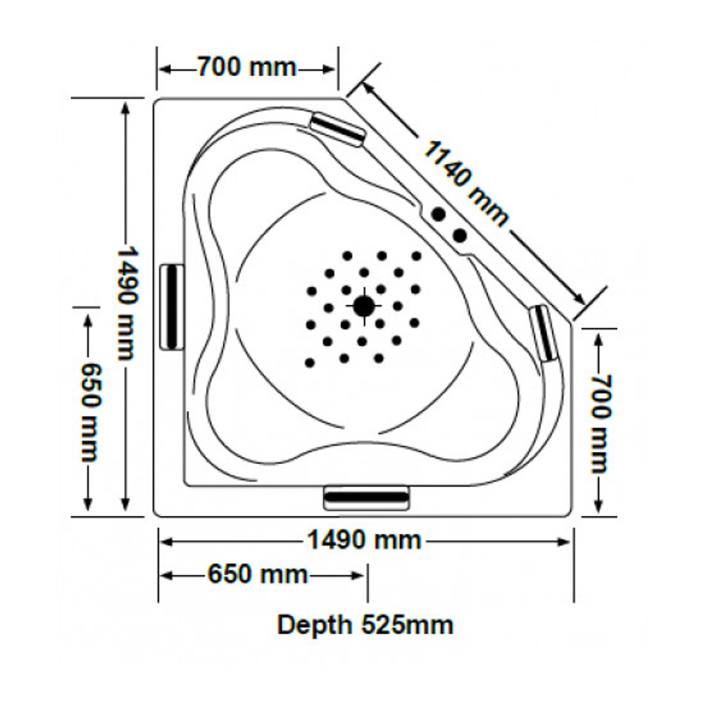 ALHAMBRA Corner Spa Bath with Pump