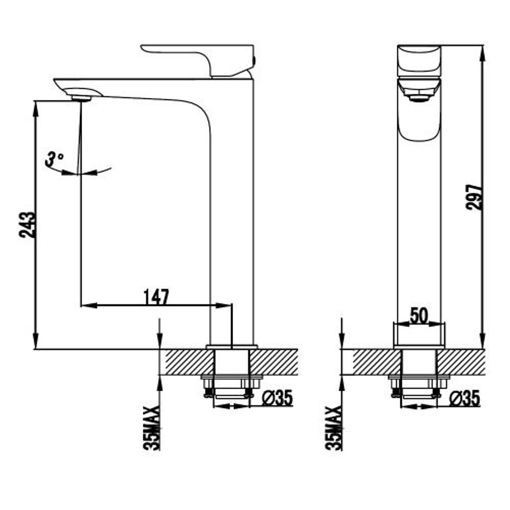 ikon BANDA Tower Basin Mixer Tap - Chrome