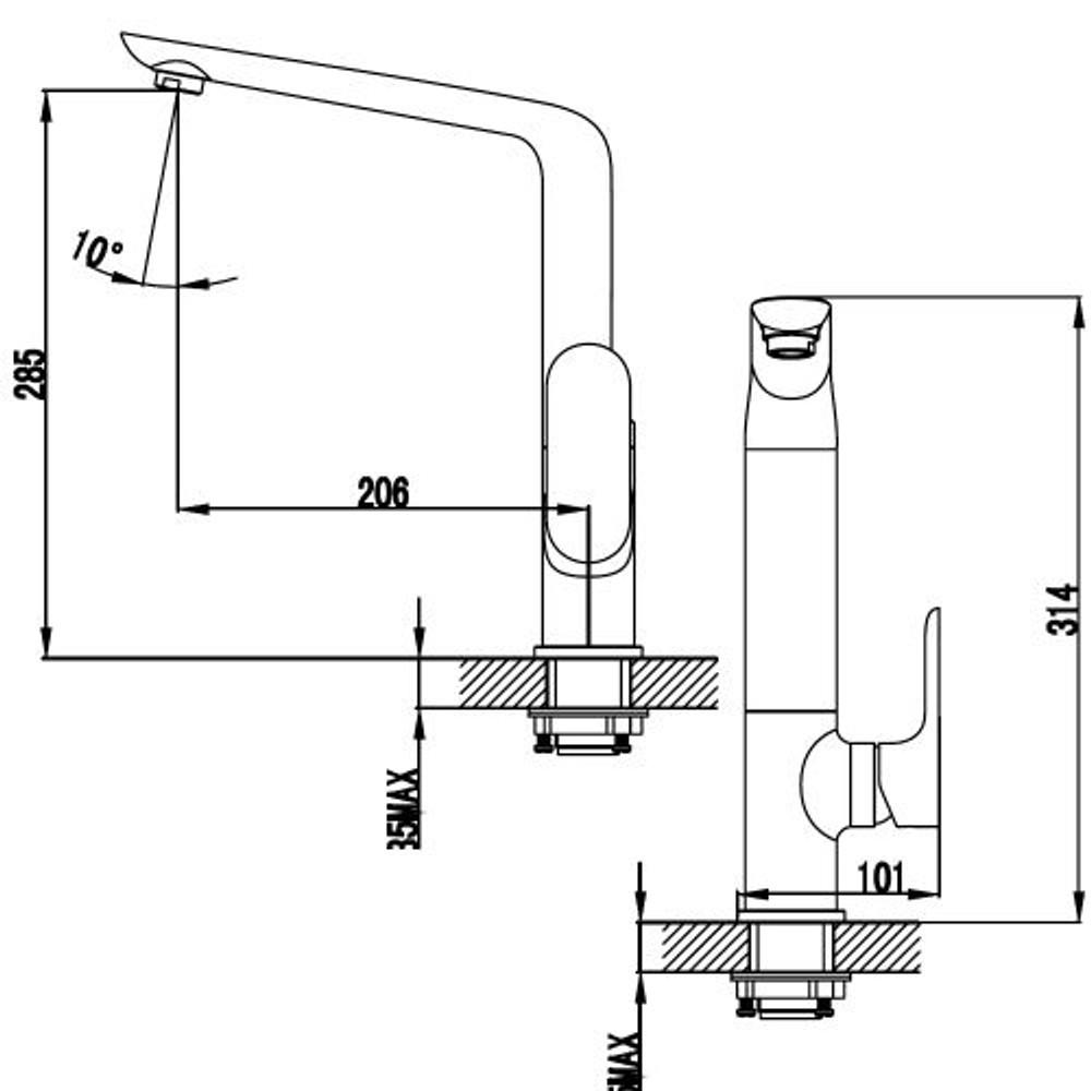 ikon BANDA Kitchen Sink Mixer Tap - Chrome