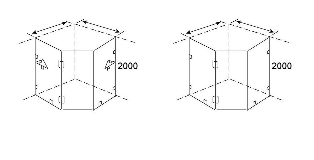 Normandy Frameless Shower Screen - Corner Diamond Shape
