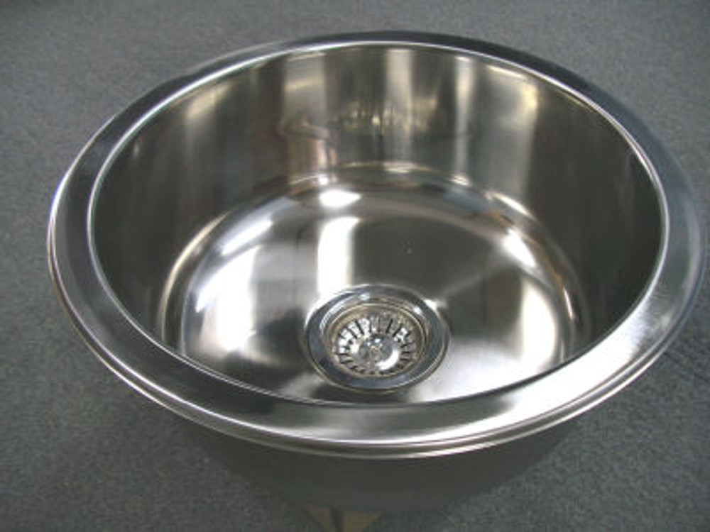 CHROME Stainless Steel Kitchen Sink Round Single Bowl