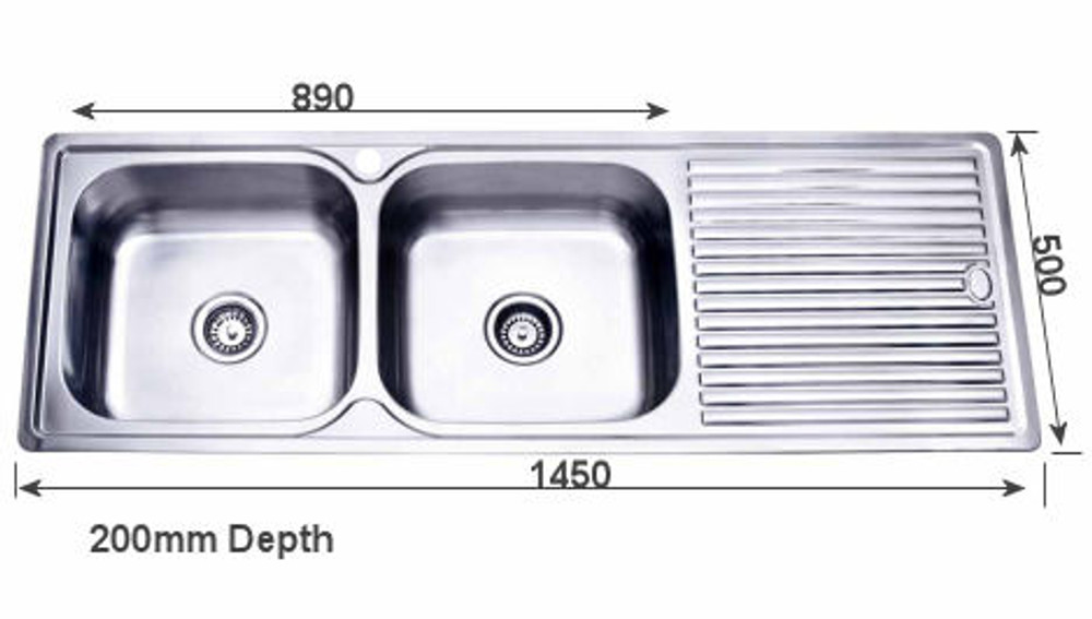 PROJECT Inset Kitchen Sink 1450mm - Double Bowl with Draining Board