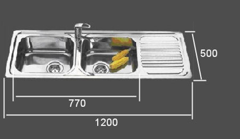 PROJECT Inset Kitchen Sink 1200mm - Double Bowl with Draining Board