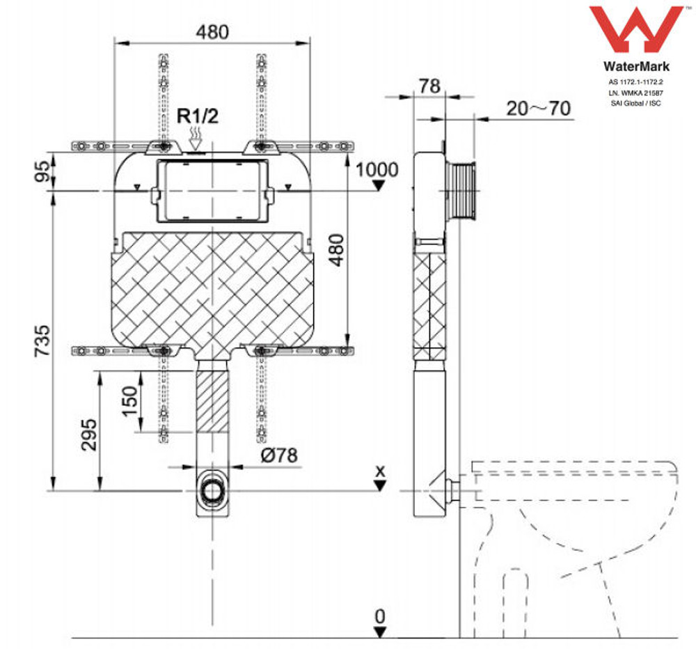 Gallaria TROPICAL Wall Faced Pan with In Wall Cistern