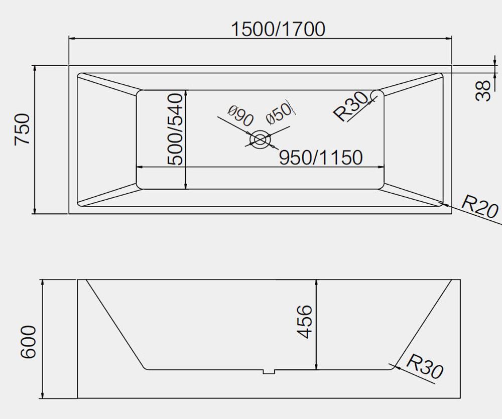 KUBE Freestanding Baths Size (1500mm&1700)