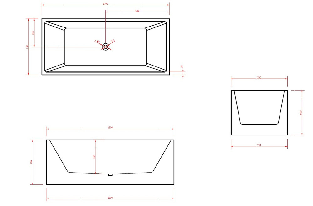 Normandy Lucerne Perfect Square Freestanding Bath Tub -1300mm 1500mm  1700mm