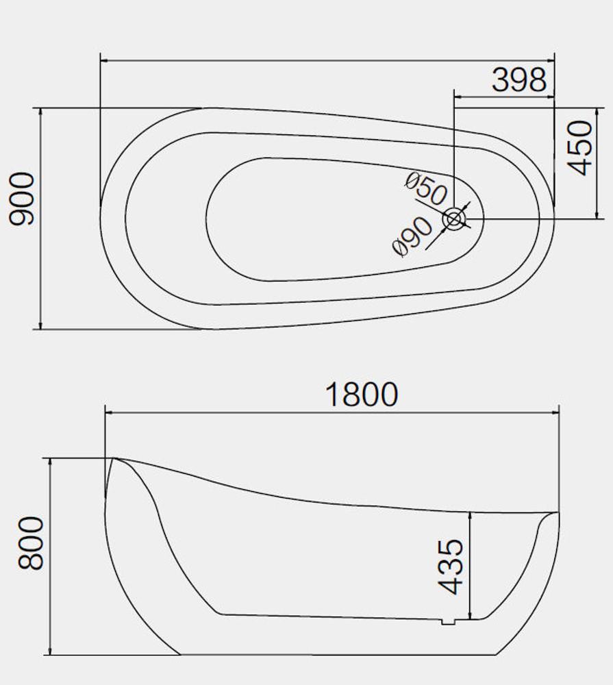 EGG SHAPE 1800mm Oval Freestanding Bath Tub