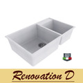 Cino  Puro CGS 440U 785 MM Undermount One And Half Bowl Granite Sink Black White