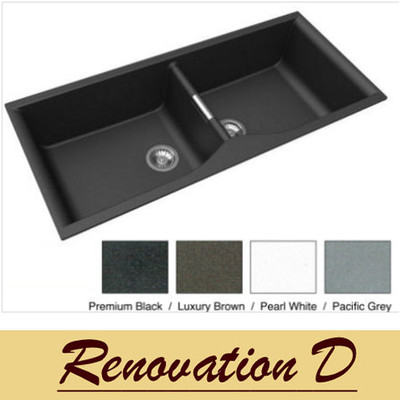 Zum Granite Kitchen Sink - Drop In or Under Mount - Double Bowl 1140 x 500