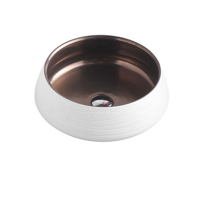 Above Counter Round Art Basin - Matt White & Copper Brass