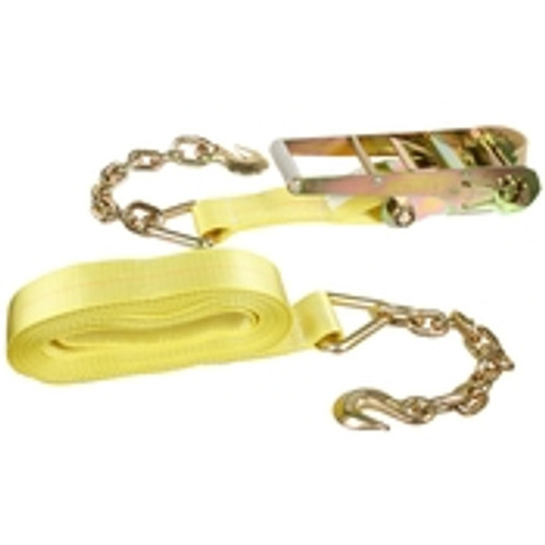 "3"" x 30' Ratchet & Strap w/ Chain & Hook"