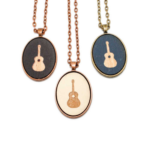 Small Cameo Pendants - Acoustic Guitar