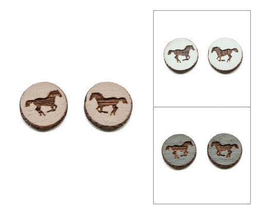 Cameo Post Earring - Horse (Galloping)