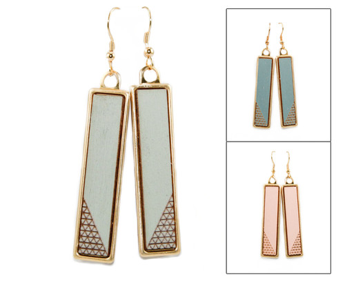 Geo Dangle Earring - Corner Crosshatch