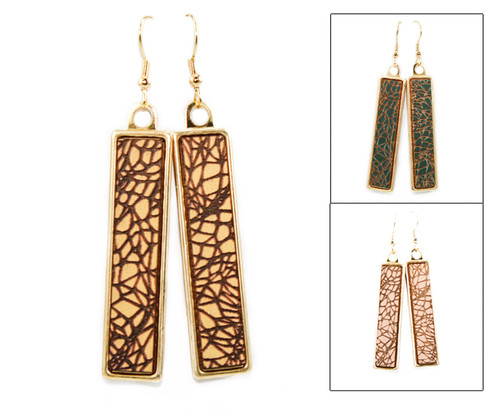 Geo Dangle Earring - Crackle Pattern