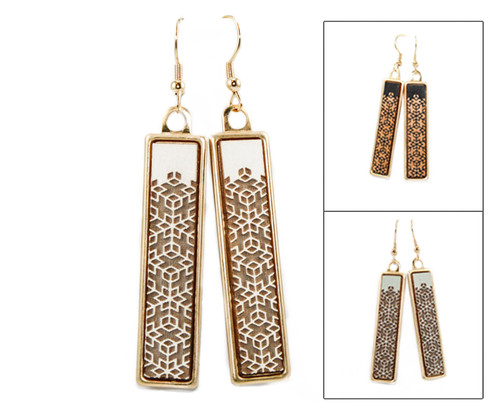 Geo Dangle Earring - Geometric Floral Pattern
