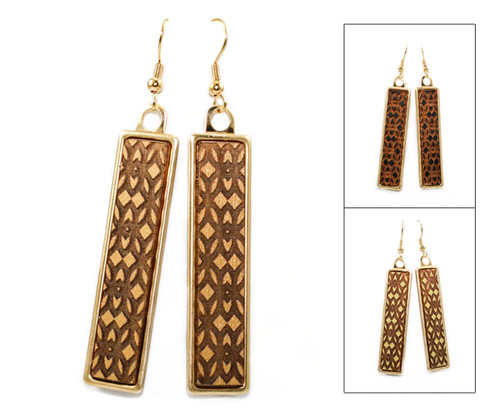 Geo Dangle Earring - Damask Pattern