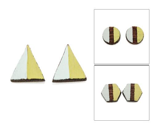 Geo Post Earrings - Aqua & Lime Green