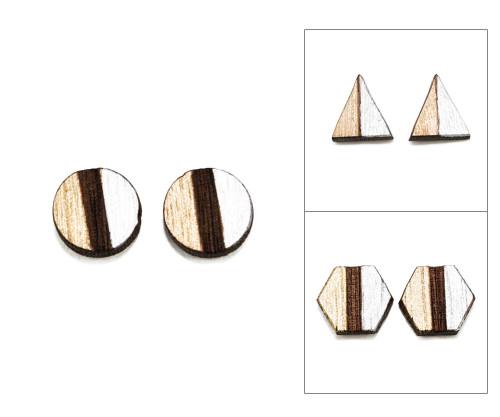 Geo Post Earrings - Gold & Silver