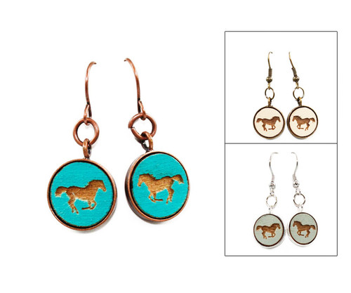 Small Dangle Earring - Horse (Galloping)