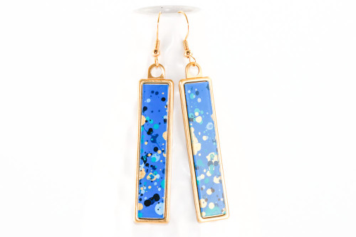 Long Splatter Painted Dangle Earrings - Sapphire Sky