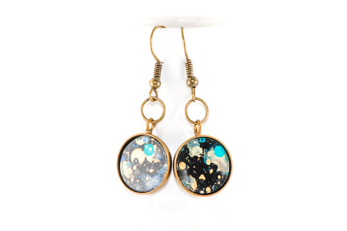 Round Splatter Painted Dangle Earring - Black Galaxy