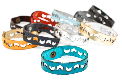 Skinny Leather Bracelet - Chevron Pattern