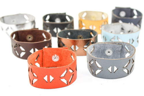 Leather Bracelet - Window Pane Pattern