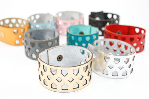 Leather Bracelet - Geometric Diamond Pattern