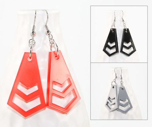 Acrylic Dangle Earrings - Geometric Chevron
