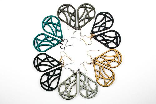 Lasercut Wood Dangle Earrings - Geometric Teardrop