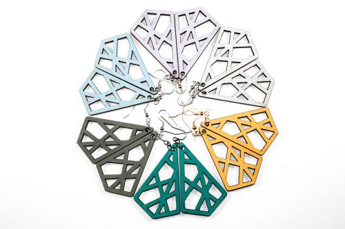 Lasercut Wood Dangle Earrings - Geometric Crisscross