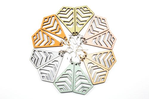 Lasercut Wood Dangle Earrings - Geometric Chevron