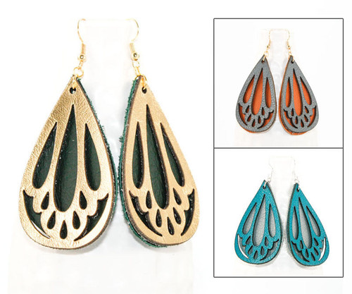 Leather Earrings - Elegant Teardrop