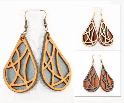 Leather Earrings - Geometric Teardrop