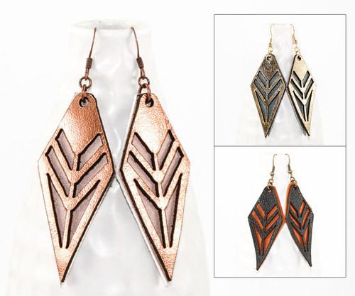 Leather Earrings - Tribal Pattern