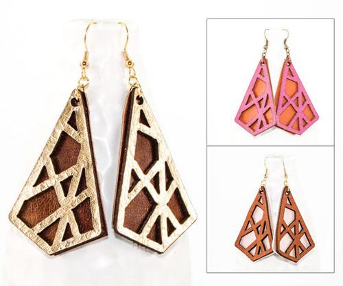 Leather Earrings - Geometric Crisscross
