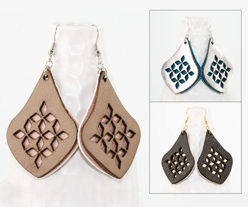 Leather Earrings - Diamond Teardrop