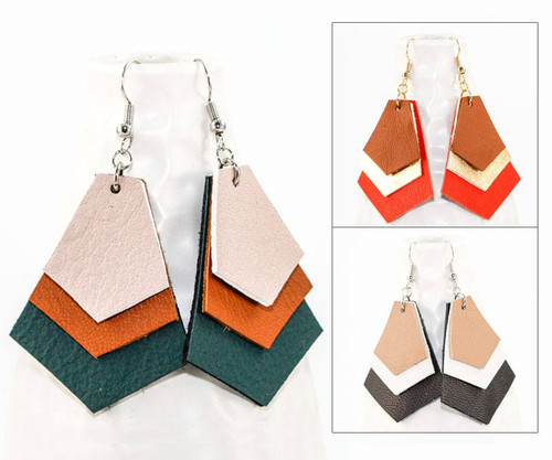 Leather Earrings - Chevron Layers