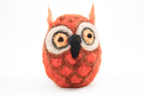 Needle Felted Owl (Orange & Tan)