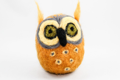 Needle Felted Owl (Yellow & Gray)