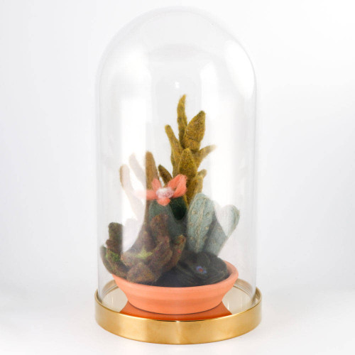 Large Needle Felted Cactus Garden in Glass Dome Terrarium