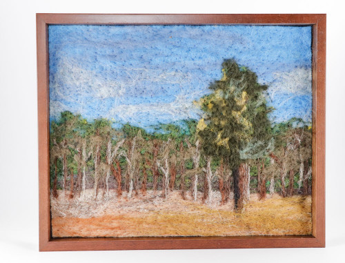 Wool Landscape Painting:  Standalone Pine (Poinsett Collection #19)