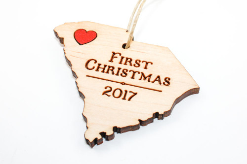 Custom Wood State Ornament - Personalized
